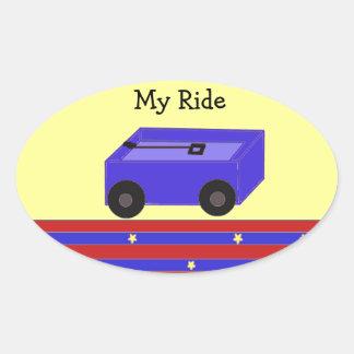 LIttle Blue Wagon Oval Sticker