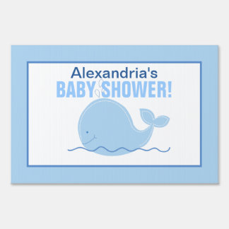 Little Blue Whale Custom Baby Shower Yard Sign