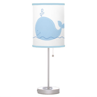 Little Blue Whale with Light Blue Trim Table Lamp