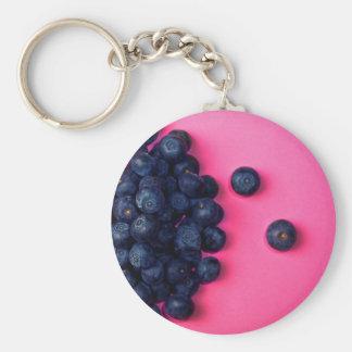 Little Blueberries Happy Pink Background - Fruit P Basic Round Button Keychain