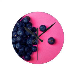 Little Blueberries Happy Pink Background - Fruit P Round Clock