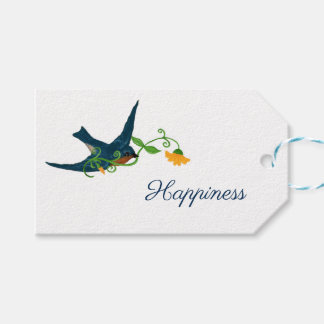 """Little Bluebird Carrying Yellow Flower, """"Happiness Gift Tags"""