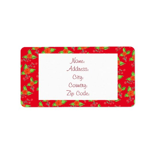 Little Bold Red Flowered Label