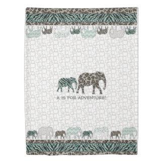 Little Boy Adventure Safari Elephant Bedroom Decor Duvet Cover