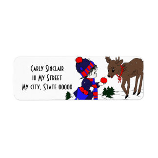 Little Boy and Reindeer Return Address Label