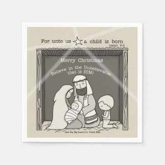 Little Boy at the Manger-Merry Christmas Disposable Napkin