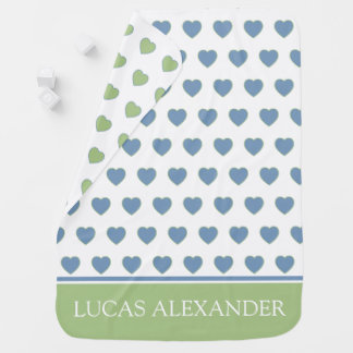 Little Boy Blue and Soft Sage hearts Personalized Baby Blanket