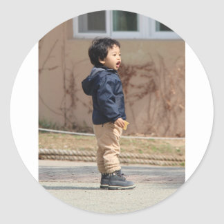 Little boy classic round sticker