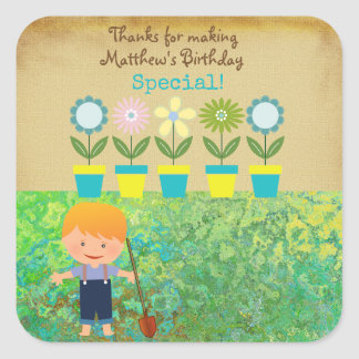 Little Boy Gardening Birthday Square Sticker