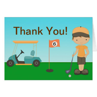 Little Boy Golf Thank You Card