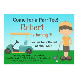 Little Boy Golfer Birthday Party Invitation