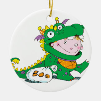 Little Boy in Dragon Costume for Halloween Ceramic Ornament