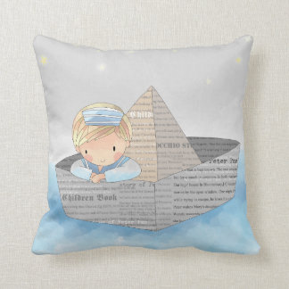 Little Boy in Dream Boat Accent Pillow