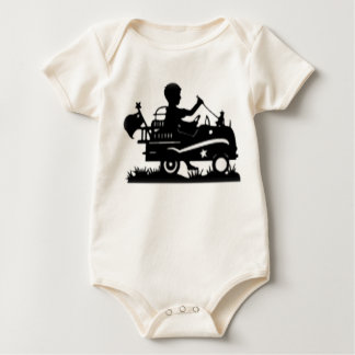 Little Boy in Firetruck silhouette Baby Bodysuit