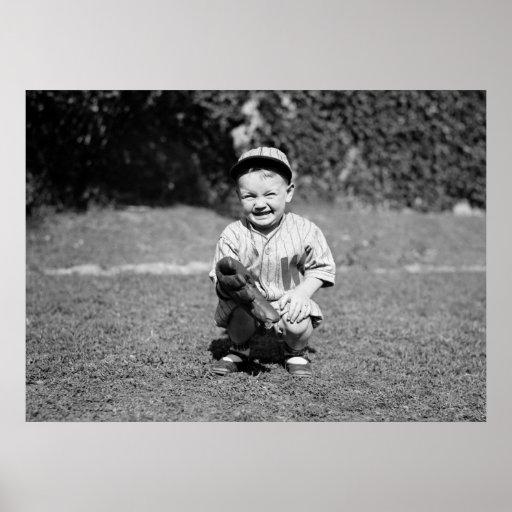 Little Boy Playing Baseball, 1920s Print