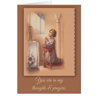 Little Boy praying with folded hands at the altar Card