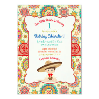 Little Boy Spanish Mexican Sombrero Colorful Card
