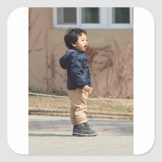 Little boy square sticker
