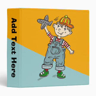 Little Boy With Airplane 3 Ring Binders