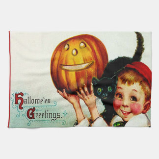 Little Boy With His Black Cat & Jack O' Lantern Kitchen Towel
