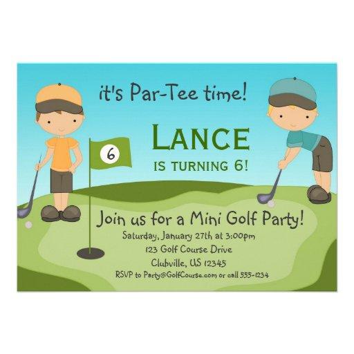 Little Boys Golf Birthday Party Invitation