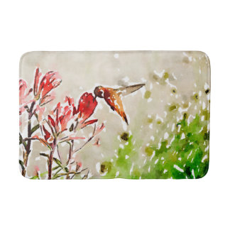 Little Bronze, gold, red  hummingbird Bath Mat