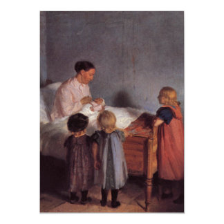 """Little brother beautiful art painting mother child 5"""" x 7"""" invitation card"""