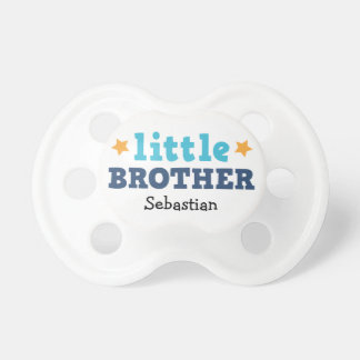 Little brother blue text with stars custom name pacifier