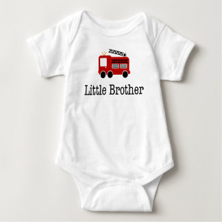 Little Brother Fire Truck Baby Bodysuit