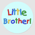 Little Brother Primary Colours Tshirts and Gifts Round Stickers