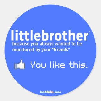 little brother round sticker