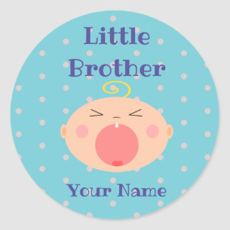 """Little Brother"" Sticker with Crying Baby"