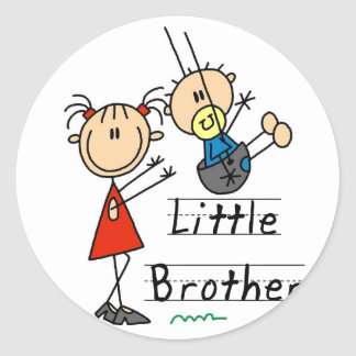 Little Brother with Big Sister Tshirts Round Stickers