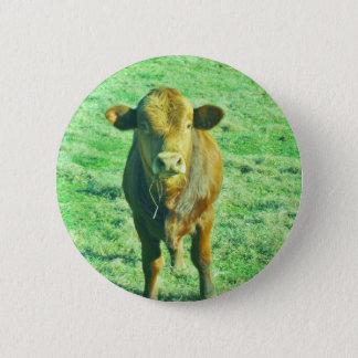 Little Brown Cow in Pastel Green Grass 2 Inch Round Button