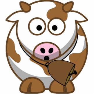 Little Brown Cow with Cowbell Standing Photo Sculpture