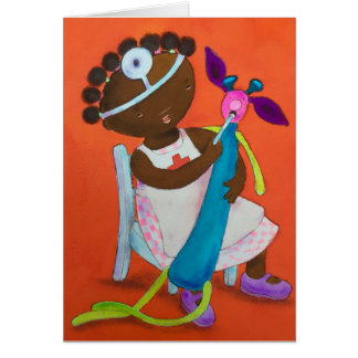 Little brown girl playing with stuffed toy. card
