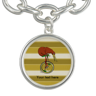 Little Brown Kiwi On A Red Unicycle Charm Bracelet