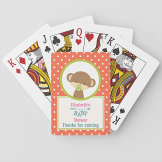 Little Brown Monkey with Pacifier Baby Shower Playing Cards