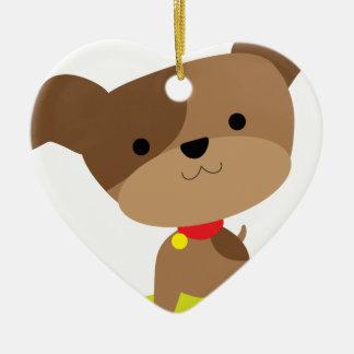 little brown pup ceramic ornament