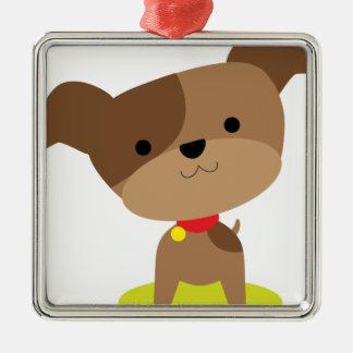 little brown pup metal ornament