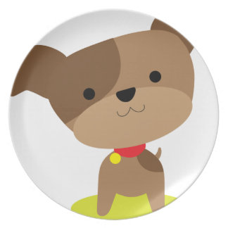little brown pup party plate