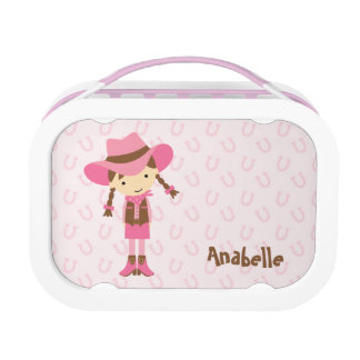 Little Brunette Cowgirl {pink} Lunch Boxes