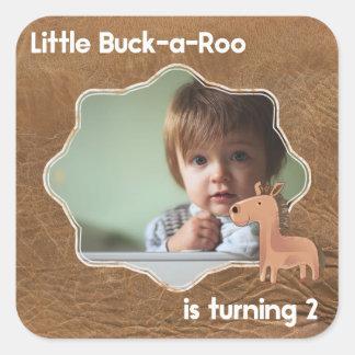 Little Buckaroo Second Birthday Picture Square Sticker