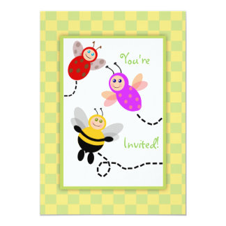 Little Bugs Ladybug, Bumble Bee, Butterfly Party Card