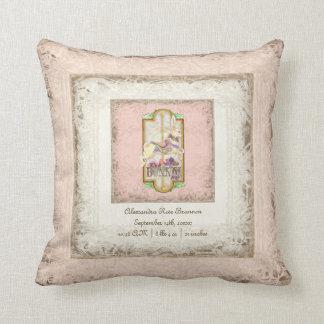 Little Bunny Baby Girl Circus Carousel Vintage Art Throw Pillow