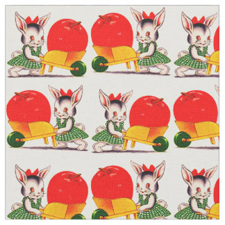 little bunny pushing cart with great big apple fabric