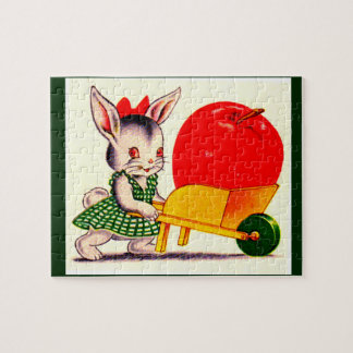 little bunny pushing cart with great big apple jigsaw puzzle