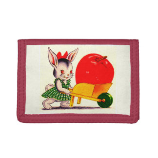 little bunny pushing cart with great big apple trifold wallet