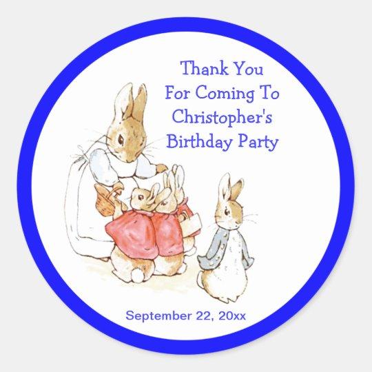 Little Bunny Rabbits Baby Boy Birthday Thank You Classic Round Sticker