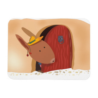 Little Bunny With Cherry Magnets Light Beige